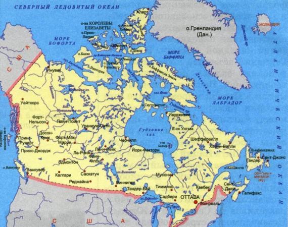 карта морей и океанов Канады